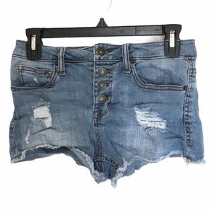 GUESS High Rise Distressed Shorty Shorts Size 26